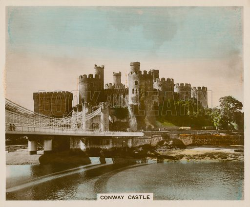 Conway Castle. Illustration for one of a series of cigarette cards entitled Views of Interest, published by R & J Hill, early 20th century.