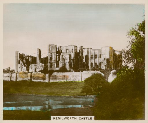 Kenilworth Castle. Illustration for one of a series of cigarette cards entitled Views of Interest, published by R & J Hill, early 20th century.