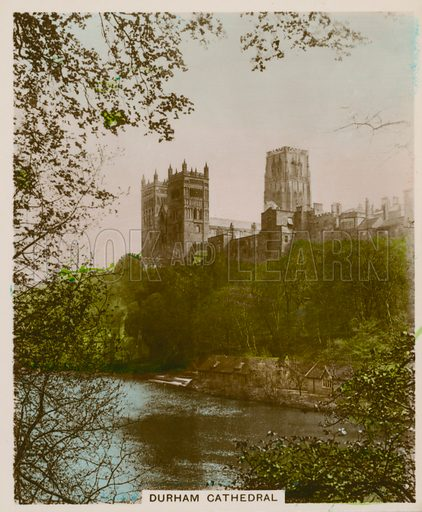 Durham Cathedral. Illustration for one of a series of cigarette cards entitled Views of Interest, published by R & J Hill, early 20th century.
