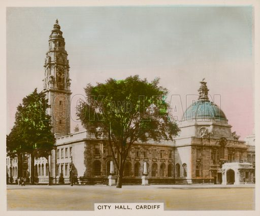 City Hall, Cardiff. Illustration for one of a series of cigarette cards entitled Views of Interest, published by R & J Hill, early 20th century.