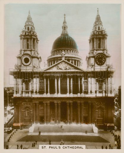 St Paul's Cathedral. Illustration for one of a series of cigarette cards entitled Views of Interest, published by R & J Hill, early 20th century.