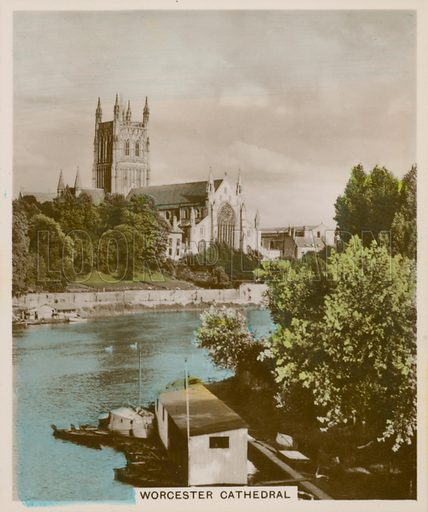 Worcester Cathedral. Illustration for one of a series of cigarette cards entitled Views of Interest, published by R & J Hill, early 20th century.