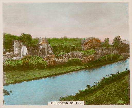 Allington Castle. Illustration for one of a series of cigarette cards entitled Views of Interest, published by R & J Hill, early 20th century.
