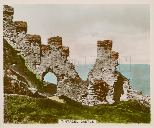 Tintagel Castle. Illustration for one of a series of cigarette cards entitled Views of Interest, published by R & J Hill, early 20th century.