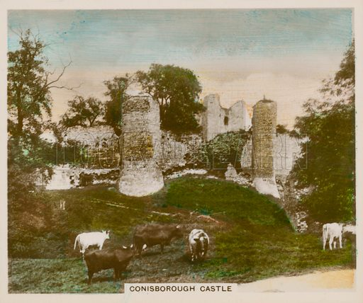 Coinsborough Castle. Illustration for one of a series of cigarette cards entitled Views of Interest, published by R & J Hill, early 20th century.