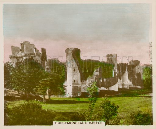 Hurstmonceaux Castle. Illustration for one of a series of cigarette cards entitled Views of Interest, published by R & J Hill, early 20th century.