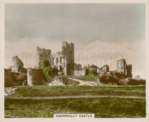 Caerphilly Castle. Illustration for one of a series of cigarette cards entitled Views of Interest, published by R & J Hill, early 20th century.