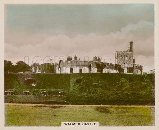Walmer Castle. Illustration for one of a series of cigarette cards entitled Views of Interest, published by R & J Hill, early 20th century.