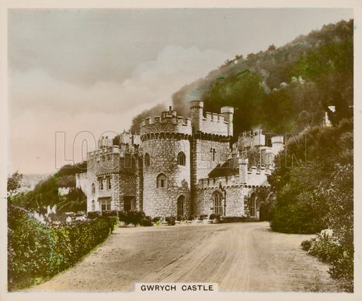 Gwrych Castle. Illustration for one of a series of cigarette cards entitled Views of Interest, published by R & J Hill, early 20th century.