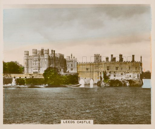 Leeds Castle. Illustration for one of a series of cigarette cards entitled Views of Interest, published by R & J Hill, early 20th century.