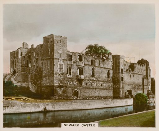 Newark Castle. Illustration for one of a series of cigarette cards entitled Views of Interest, published by R & J Hill, early 20th century.