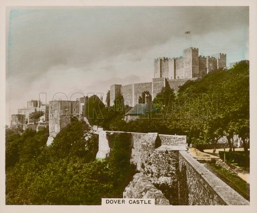 Dover Castle. Illustration for one of a series of cigarette cards entitled Views of Interest, published by R & J Hill, early 20th century.