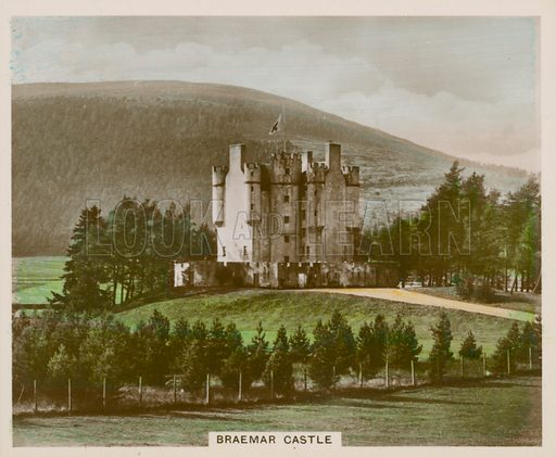 Braemar Castle. Illustration for one of a series of cigarette cards entitled Views of Interest, published by R & J Hill, early 20th century.