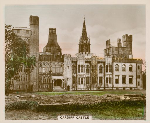 Cardiff Castle. Illustration for one of a series of cigarette cards entitled Views of Interest, published by R & J Hill, early 20th century.