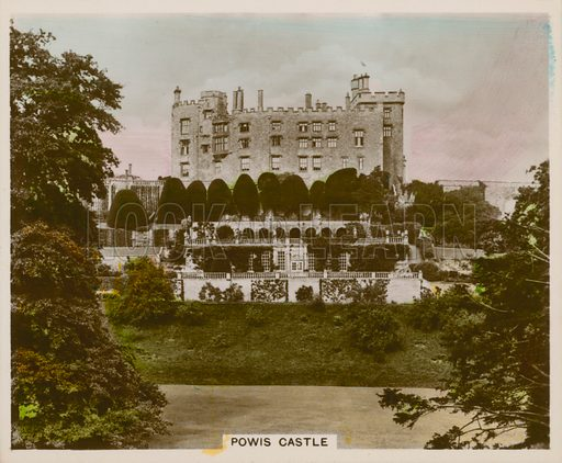 Powis Castle. Illustration for one of a series of cigarette cards entitled Views of Interest, published by R & J Hill, early 20th century.