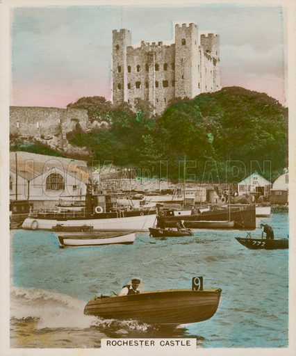 Rochester Castle. Illustration for one of a series of cigarette cards entitled Views of Interest, published by R & J Hill, early 20th century.