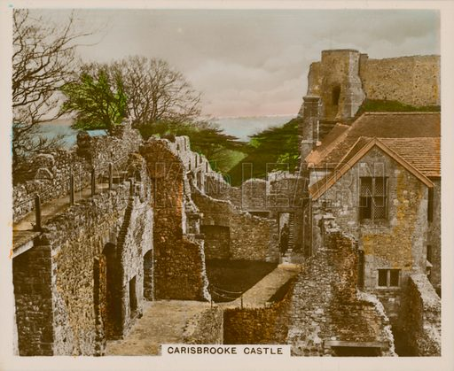 Carisbrooke Castle. Illustration for one of a series of cigarette cards entitled Views of Interest, published by R & J Hill, early 20th century.