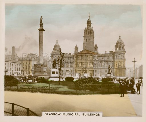 Glasgow Municipal Buildings. Illustration for one of a series of cigarette cards entitled Views of Interest, published by R & J Hill, early 20th century.