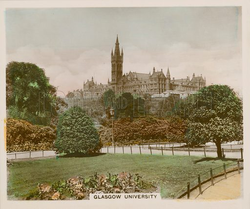 Glasgow University. Illustration for one of a series of cigarette cards entitled Views of Interest, published by R & J Hill, early 20th century.