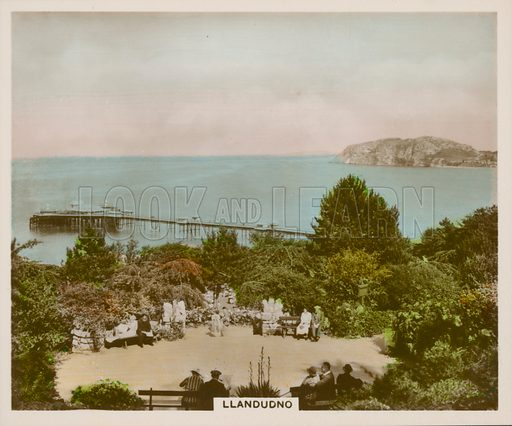 Llandudno. Illustration for one of a series of cigarette cards entitled Views of Interest, published by R & J Hill, early 20th century.