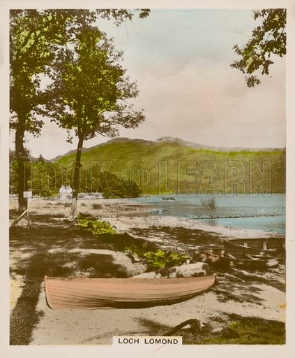 Loch Lomond. Illustration for one of a series of cigarette cards entitled Views of Interest, published by R & J Hill, early 20th century.