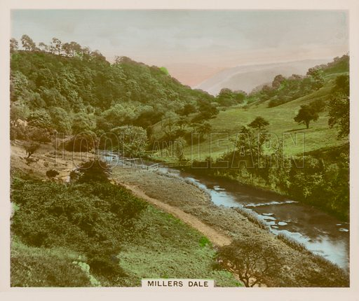 Millers Dale. Illustration for one of a series of cigarette cards entitled Views of Interest, published by R & J Hill, early 20th century.