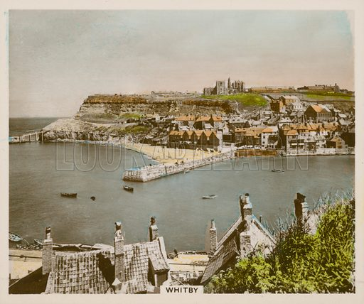 Whitby. Illustration for one of a series of cigarette cards entitled Views of Interest, published by R & J Hill, early 20th century.