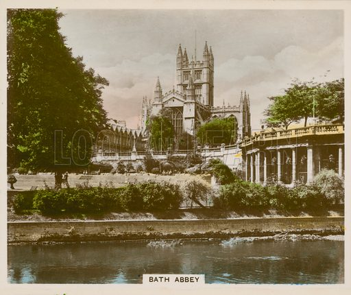 Bath Abbey. Illustration for one of a series of cigarette cards entitled Views of Interest, published by R & J Hill, early 20th century.
