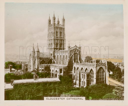 Gloucester Cathedral. Illustration for one of a series of cigarette cards entitled Views of Interest, published by R & J Hill, early 20th century.