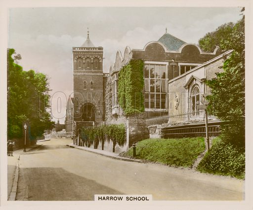 Harrow School. Illustration for one of a series of cigarette cards entitled Views of Interest, published by R & J Hill, early 20th century.