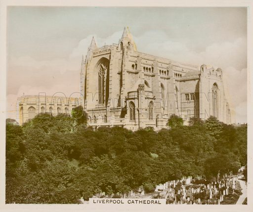 Liverpool Cathedral. Illustration for one of a series of cigarette cards entitled Views of Interest, published by R & J Hill, early 20th century.