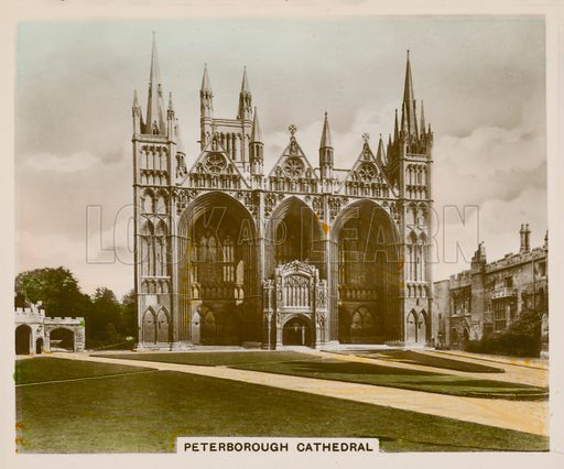 Peterborough Cathedral. Illustration for one of a series of cigarette cards entitled Views of Interest, published by R & J Hill, early 20th century.