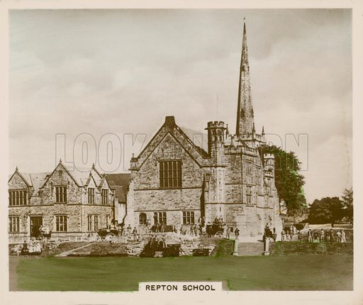 Repton School. Illustration for one of a series of cigarette cards entitled Views of Interest, published by R & J Hill, early 20th century.