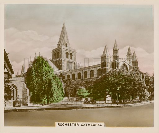 Rochester Cathedral. Illustration for one of a series of cigarette cards entitled Views of Interest, published by R & J Hill, early 20th century.