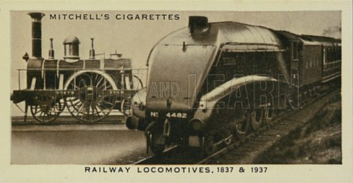Railway Locomotives, The North Star, The Golden Eagle. Illustration for one of a series of cigarette cards entitled Wonderful Century, published by Stephen Mitchell, c 1937.  Only suitable for repro at small size.