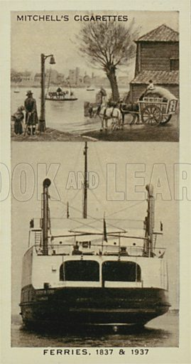 Ferries, River Ferry, Cross-channel Train Ferry. Illustration for one of a series of cigarette cards entitled Wonderful Century, published by Stephen Mitchell, c 1937.  Only suitable for repro at small size.