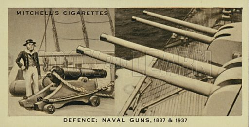Defence, Naval Guns, A 32-pounder, Modern Naval Guns. Illustration for one of a series of cigarette cards entitled Wonderful Century, published by Stephen Mitchell, c 1937.  Only suitable for repro at small size.