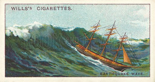 An Earthquake Wave, one of the greatest perils of the ocean. Illustration for one of a series of cigarette cards on the subject of Wonders of the Sea published by Wills's Cigarettes, early 20th century.