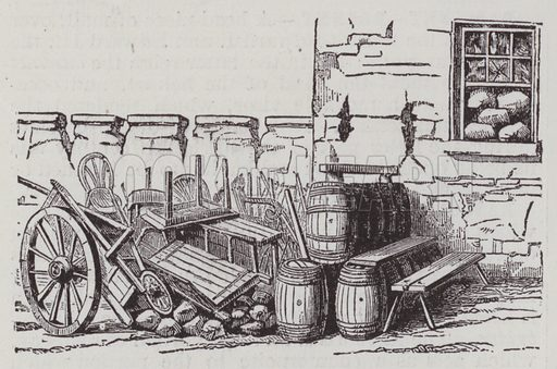 Barricades. Illustration for Farrow's Military Encyclopedia by Edward S Farrow (Published by the Author, 1885).  Farrow was late assistant instructor of tactics at the United States Military Academy, West Point, New York.