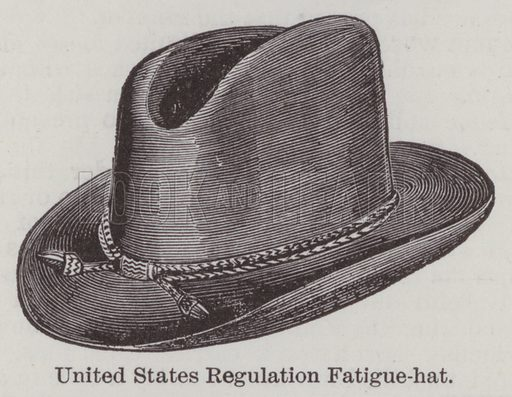 United States Regulation Fatigue-hat. Illustration for Farrow's Military Encyclopedia by Edward S Farrow (Published by the Author, 1885).  Farrow was late assistant instructor of tactics at the United States Military Academy, West Point, New York.