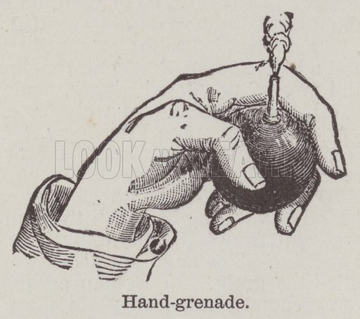 Hand-grenade. Illustration for Farrow's Military Encyclopedia by Edward S Farrow (Published by the Author, 1885).  Farrow was late assistant instructor of tactics at the United States Military Academy, West Point, New York.