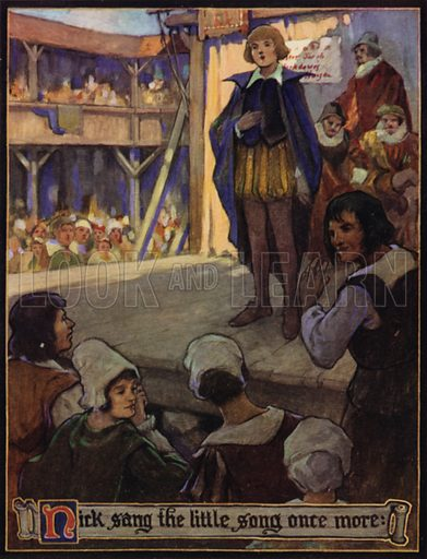Nick sang the little song once more. Illustration from Master Skylark: A Story of Shakespeare's Time, by John Bennett (George Harrap & Co Ltd, London and Sydney, c1923).