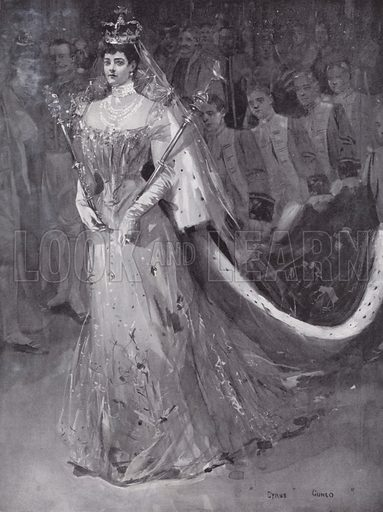 Queen Alexandra leaving Westminster Abbey, London, after her and King Edward VII