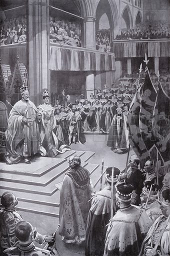 Coronation of King Edward VII and Queen Alexandra, Westminster Abbey, London, 1902. Illustration from Black & White, Coronation Number, 16 August 1902.