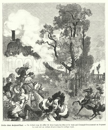 Imagined scene of a royal procession of the time of King Louis XIV of France being startled by the whistle of a steam train. Illustration for Le Petit Francais Illustre, 24 May 1890.