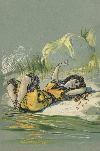 Girl reclining on a beach or riverbank. Postcard, early 20th century.