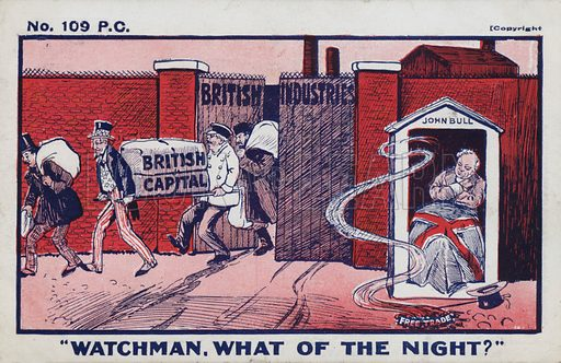 Watchman, what of the night? Anti-free trade postcard, early 20th century.