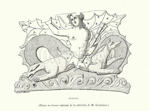 Scylla, Ancient Greek bronze plaque. Illustration from L'Art Ancien a l'Exposition de 1878 (A Quantin, Paris, 1879).