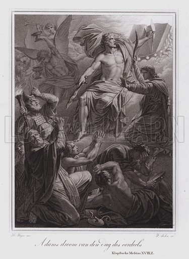 Adam's dream of the Day of Judgment. Illustration from a Dutch translation of German poet Friedrich Gottlieb Klopstock's epic poem Der Messias.