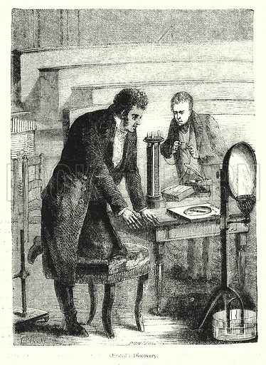 Danish physicist Hans Christian Oersted discovering electromagnetism, 1820. Illustration from Every Boy's Annual (George Routledge and Sons, 1883).